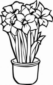 цветочки в горшке раскраска