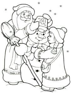 дед мороз, снеговик и снегурочка