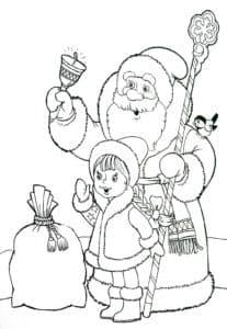 дед мороз с колокольчиком и снегурочка