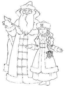 дед мороз и снегурочка раскраска для детей