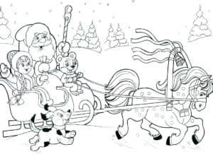 дед мороз со снегурочкой на санях