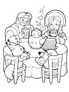 дед мороз и снегурочка с белкой и ежиком
