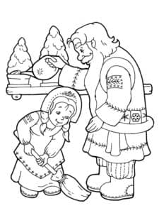 дедушка и девочка