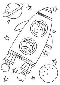 дети в ракете раскраска