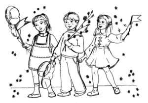 Дети с шариком и флажком