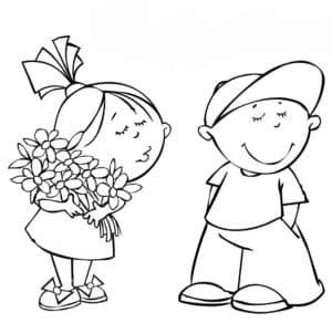 девочка с цветами и мальчик