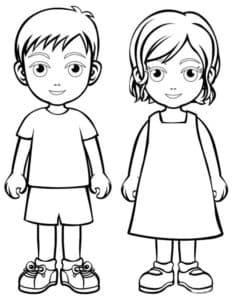 Мальчик и девочка раскраска