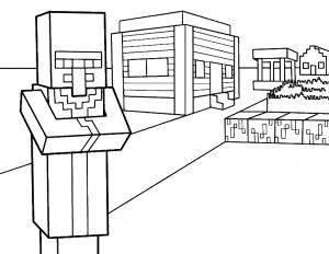 Майнкрафт и дом раскраска