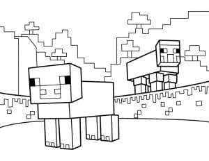 майнкрафт две собаки раскраска для ребенка.