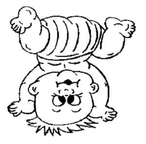 Пупсик стоит на голове