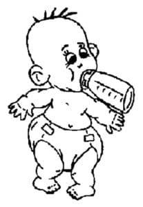 Распечатать малыш с бутылочкой