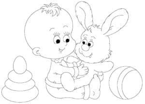 Малышка с зайчиком