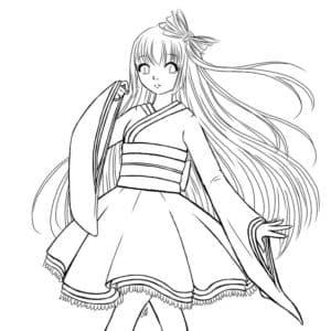девушка аниме с большими рукавами