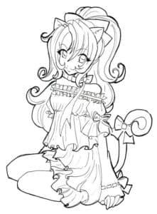девушка аниме с хвостиком
