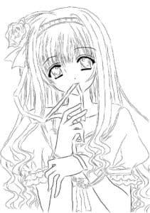 девушка аниме с печальными глазами