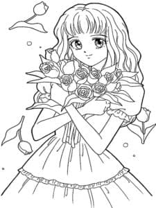 девушка аниме с букетом роз