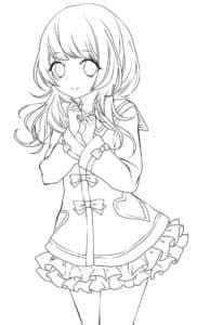 девушка аниме в юбке с сердечками