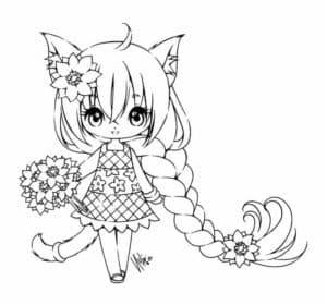 девочка аниме с букетом