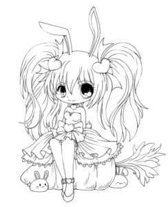 девушка аниме сидит на тыкве