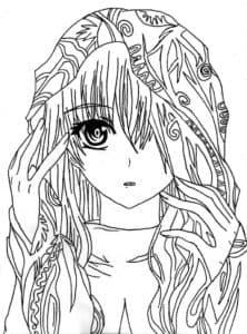 девушка аниме и прическа с узорами