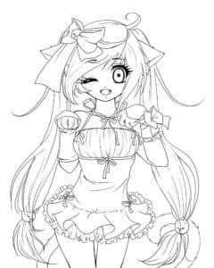 девушка аниме в юбке