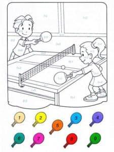 теннис раскраска по номерам