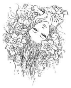 Лицо с цветами антистресс