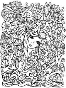 Голова и цветы раскраска антистресс