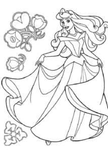 Девушка в шикарном платье и цветы раскраска