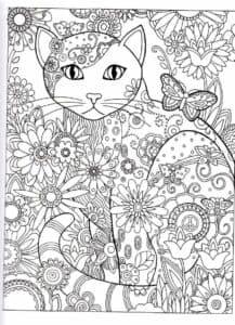 Кот и бабочка раскраска антистресс