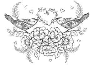 Две птички и сердце раскраска детская