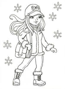 Девочка с сумкой и снежинки