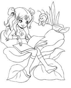 Девочка на цветке с книгой
