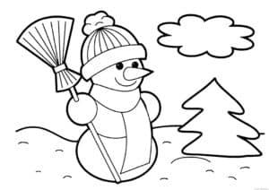 снеговик с метлой и елка