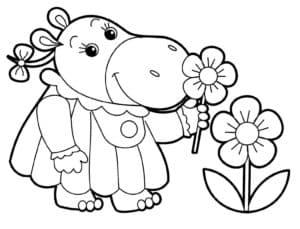 бегемот с цветочком