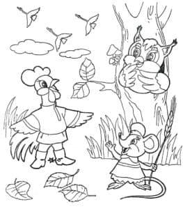петух сова и мышка
