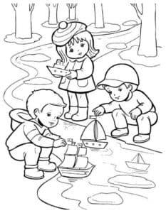 дети запускают кораблики