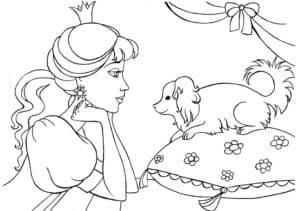 женщина и собака на подушке