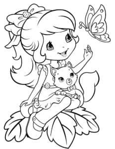девочка с котенком и бабочкой