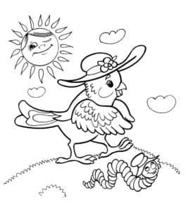 птичка в панаме и червяк