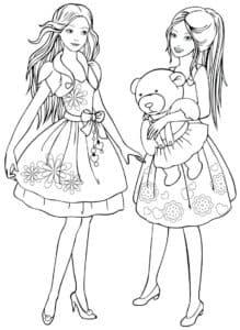 Две девочки с плюшевым медведем
