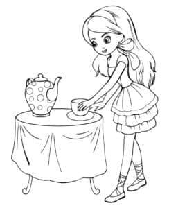 Девочка в платье и чашка с чайником