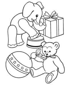 Плюшевый слоник и медвежонок