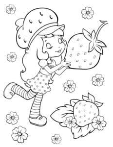 Девочка с большой клубникой