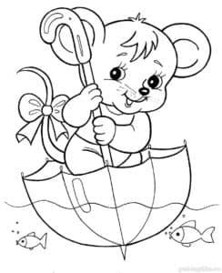 Мышонок плывет в зонтике
