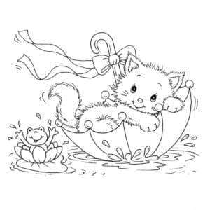 котик плывет в зонтике