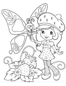 Девочка и большая бабочка
