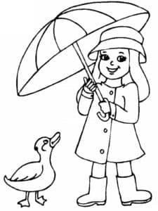 Девочка под зонтиком и утка