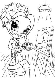 Девочка рисует сапог