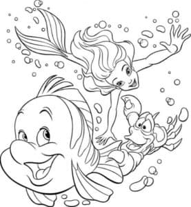 Рыбка немо, русалка и рак